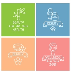 Set of spa labels in linear style vector image