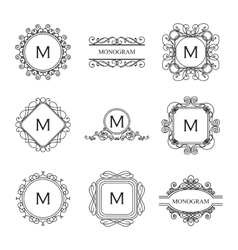 set outline monograms and logo design templates vector image
