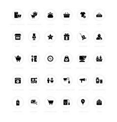 set simple icons black friday vector image