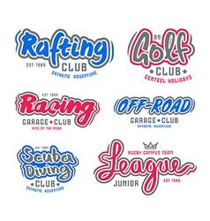 set vintage lettering logo rafting diving golf vector image