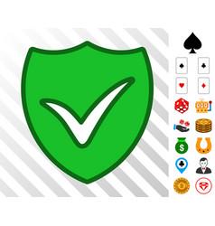 shield ok icon with bonus vector image
