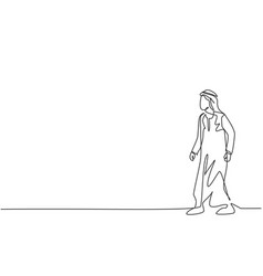 single continuous line drawing young arab vector image