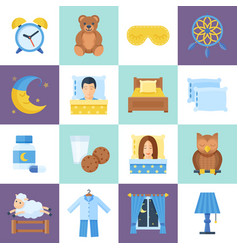 sleeping rest time object set vector image