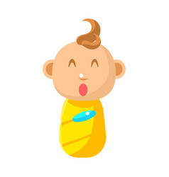 Small happy newborn baby swaddled in yellow diaper vector