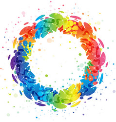 Splash rainbow circle on white background vector