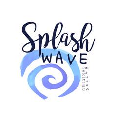 Splash wave logo water design element aqua badge vector