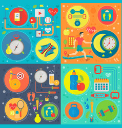 sport and health square concepts set healthy vector image