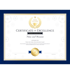 Sport theme certification of excellence template vector