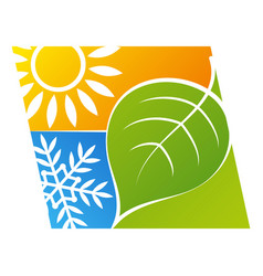 Sun and snowflake green leaf eco air conditioner vector