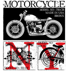 T-shirt or poster design with of a motorcycle vector
