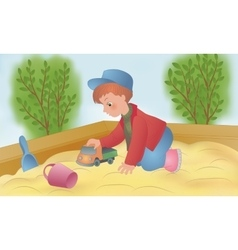 The child is played in a sandbox vector