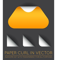 Triangle with Paper Curl with Shadow Isolated Set vector
