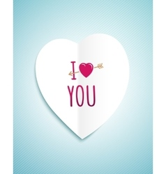 Valentines day greeting card with the white paper vector image