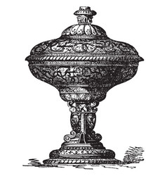 Vase of henry ii ware or ornamental pieces vector