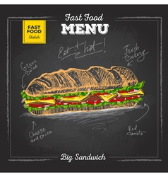 Vintage chalk drawing fast food menu Sandwich vector image