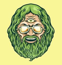 vintage head cannabis man kush vector image