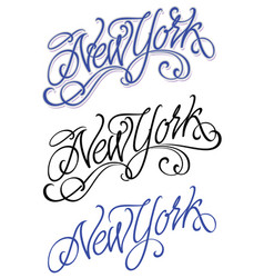 vintage new york calligraphic handwritten vector image