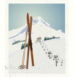 Winter themed template with wooden old vector