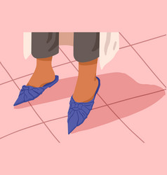 Woman blue mules with flat sole bare female feet vector
