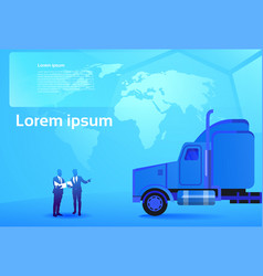 world delivery concept two business men looking at vector image
