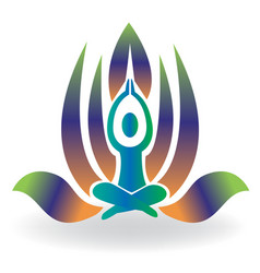 Yoga man meditation lotus icon logo vector