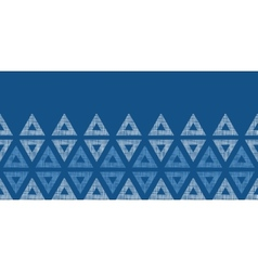 Abstract textile blue triangles ikat horizontal vector image