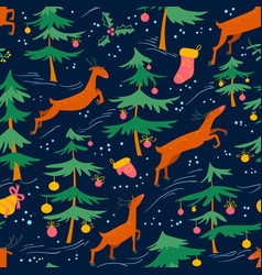 Chirstmas seamless pattern with cute deers and vector
