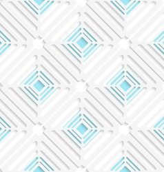 Diagonal white square net and blue pattern vector image vector image