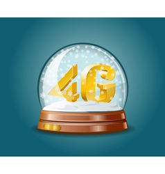 4G mobile communications standard in snow globe vector image vector image