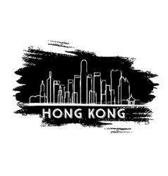 hong kong skyline silhouette hand drawn sketch vector image