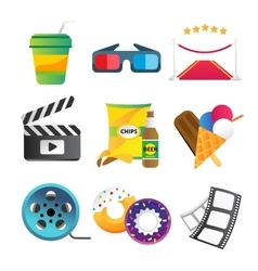 Movie icons set vector image vector image