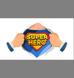 super hero sign superhero open shirt to vector image vector image