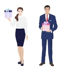 Young handsome businessman and beautiful vector image vector image
