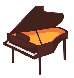 big brown piano with open top isolated vector image vector image