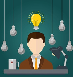 Businessman with ideas Businessman with light vector image vector image