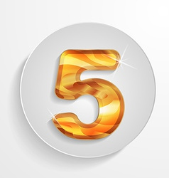 button wood numbers 5 with shadow effect vector image