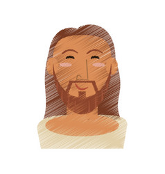 drawing face jesus christ design vector image