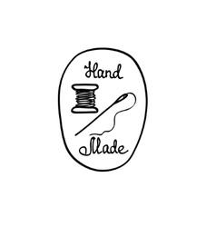 Hand-drawn retro hand-made badge vector image