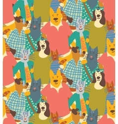 Hug pets dogs and cats friendship crowd seamless vector image vector image