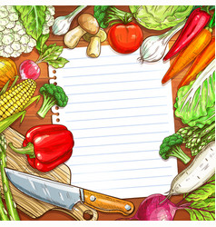 Vegetables and blank paper on wooden background vector