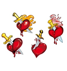 Bleeding hearts stabbed by daggers vector image