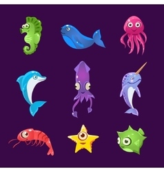 Colourful Sea Creatures Set vector image vector image