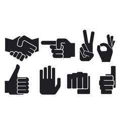 hand gesture silhouettes vector image vector image