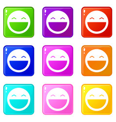 laughing emoticons 9 set vector image vector image