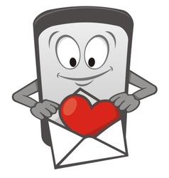 mobile love cartoon vector image