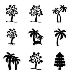 tree icons collection vector image