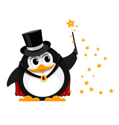 young penguin magician cartoon image of a small vector image vector image