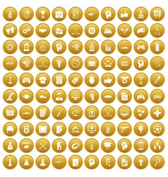 100 strategy icons set gold vector