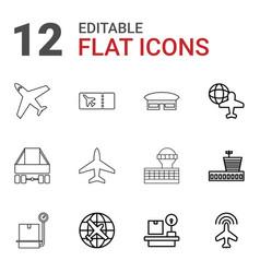 12 plane icons vector