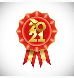 2021 gold graduates red rozette vector image